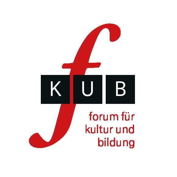 Logo von f-kub. Ein geschwungenes f mit drei schwarzen Kästen